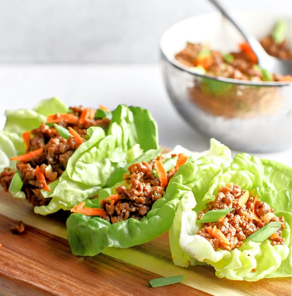 Asian Style Lettuce Wraps - This vegan version of the restaurant classic is ready to serve in under 30 minutes!