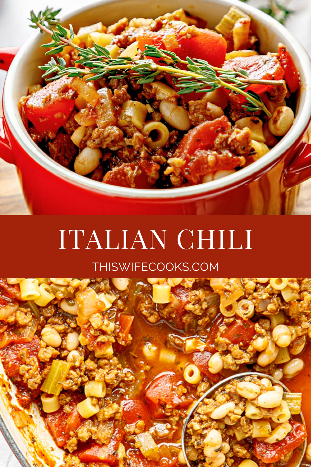This Italian Chili recipe is hearty, comforting, and easy to make with simple ingredients and Italian seasonings. via @thiswifecooks