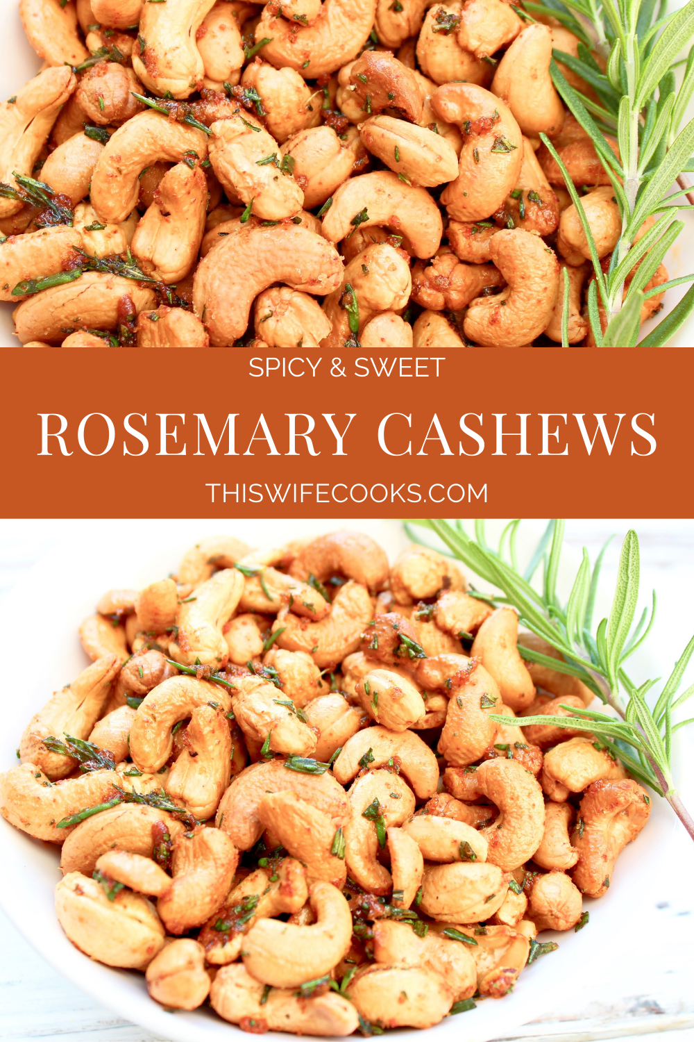 Rosemary Cashews ~ These roasted cashews are a little sweet, a little spicy, completely delicious, and perfect for holiday gifting! via @thiswifecooks