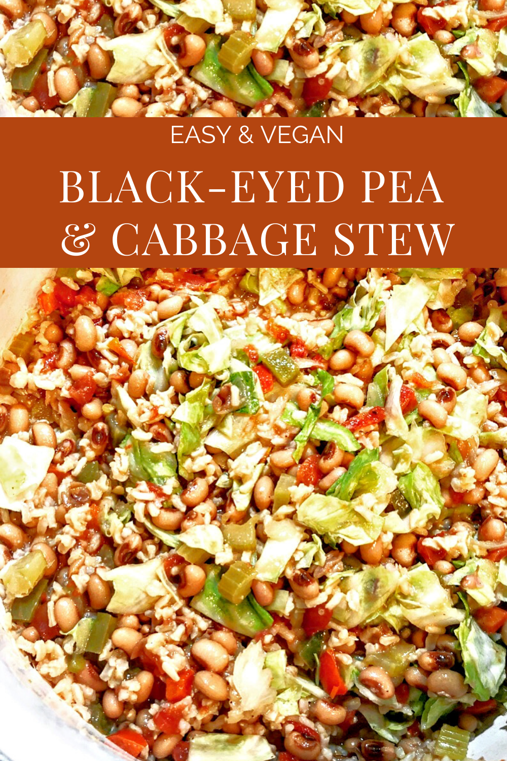 Vegan Black Eyed Pea and Cabbage Stew - Kick off the new year with hearty and healthy vegan black-eyed pea and cabbage stew! via @thiswifecooks