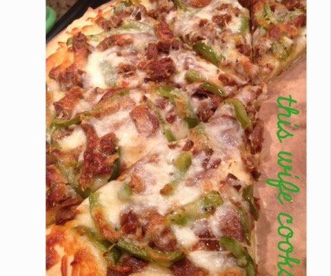 Vegetarian Cheese Steak Pizza