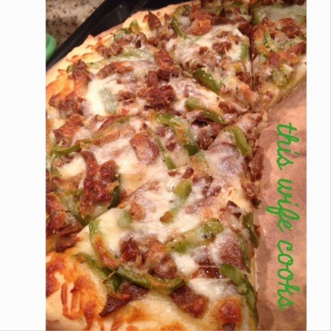 Vegetarian Cheese Steak Pizza