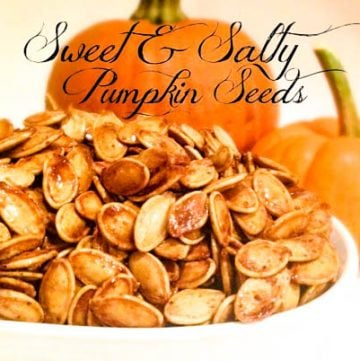 Sweet and Salty Pumpkin Seeds - Fresh pumpkin seeds are slow roasted 90 minutes for a sweet and salty snack, perfect for fall!