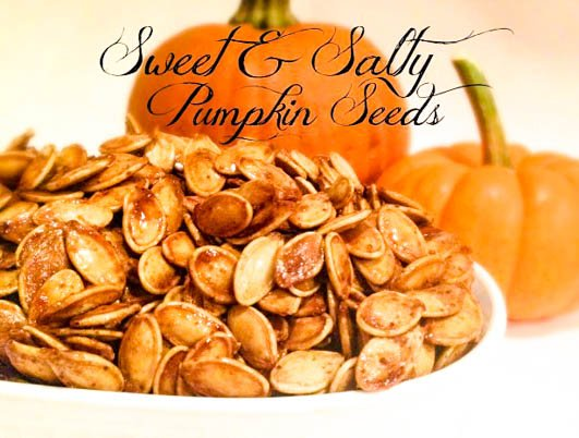 Sweet and Salty Pumpkin Seeds - Fresh pumpkin seeds are slow roasted 90 minutes for a sweet and salty snack, perfect for fall! via @thiswifecooks