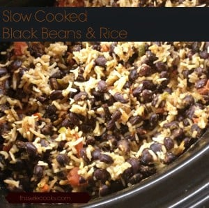Easy Slow Cooker Black Beans and Rice! - A hearty and healthy, high protein, budget-friendly meal, ready to serve in about 3 hours!