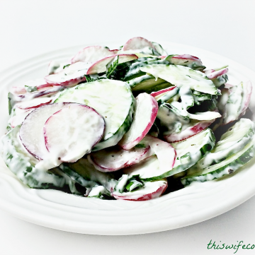 Radish & Cucumber Salad with Vegan Dill Yogurt Dressing | 7 ingredients and 10 minutes is all you need for this light, refreshing salad!