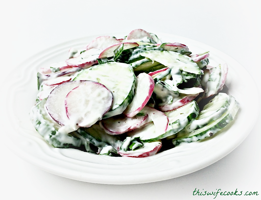 Radish & Cucumber Salad with Vegan Dill Yogurt Dressing | 7 ingredients and 10 minutes is all you need for this light, refreshing salad! via @thiswifecooks