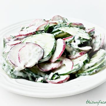 Radish & Cucumber Salad with Vegan Dill Yogurt Dressing