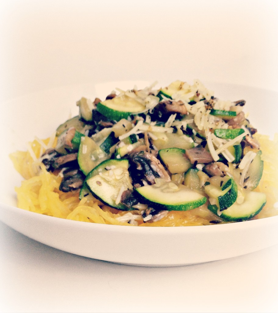 Spaghetti Squash with Mushrooms & Zucchini