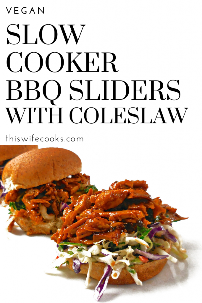Slow Cooker Vegan BBQ - A classic combination of BBQ and coleslaw together in one bite, these easy sliders are like a taste of summer.