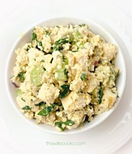 The Six-Million Dollar Tofu Egg Salad! -This is the preparation method as it appears in the book Mastering the Art of Vegan Cooking.| thiswifecooks.com