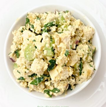 The Six-Million Dollar Tofu Egg Salad! -This is the preparation method as it appears in the book Mastering the Art of Vegan Cooking.| thiswifecooks.com #tofurecipes #veganeggsalad #thiswifecooksrecipes #healthyveganrecipes #easysandwichrecipes #makeaheadrecipes