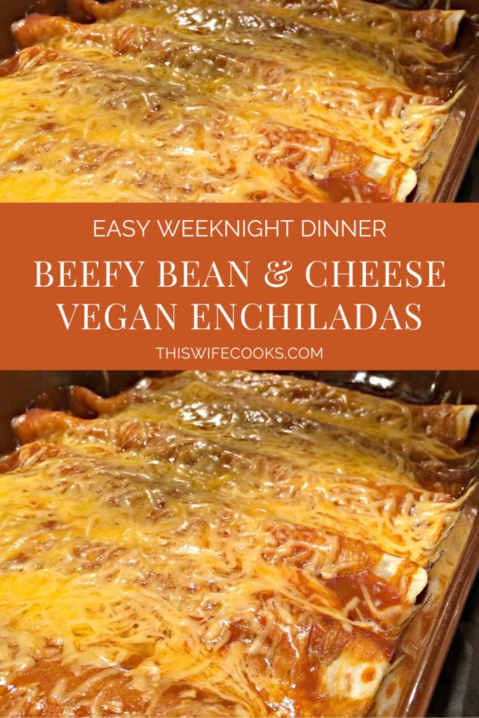Beefy Bean and Cheese Vegan Enchiladas | An easy and delicious weeknight dinner the family will love! | thiswifecooks.com | #vegantexmex #veganenchiladas #thiswifecooksrecipes #beanandcheese