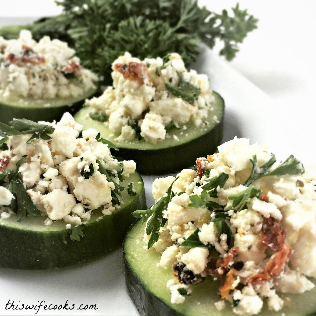 Feta Cucumber Bites - Easiest appetizer ever! | thiswifecooks.com