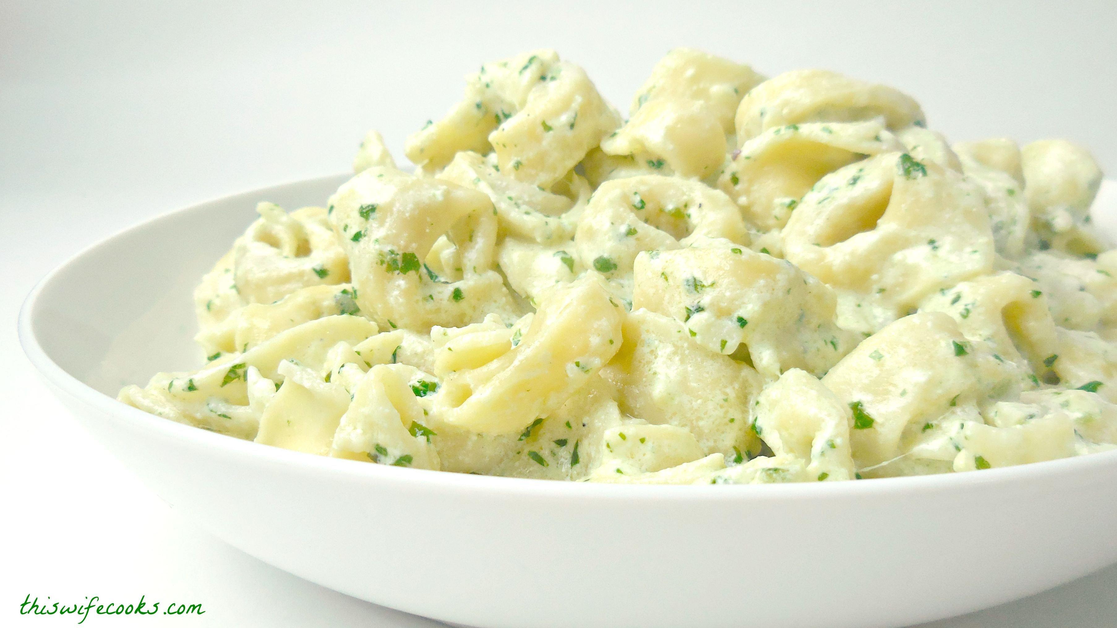 Vegan Tortellini in Creamy Pesto Sauce via @thiswifecooks