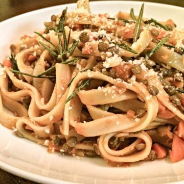 Vegan Lentil Bolognese with Fettuccine and Rosemary - Lentils replace the traditional ground beef in this hearty and fragrant version of an Italian classic.