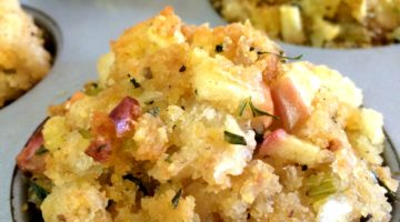 Sourdough Stuffing Muffins with Apple and Fresh Herbs