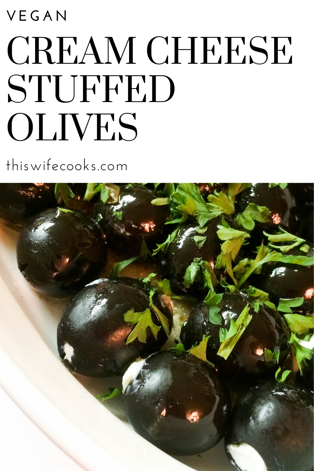 Vegan Cream Cheese Stuffed Olives - A super easy and tasty appetizer you can throw together in ten minutes! The secret ingredient is Italian dressing! via @thiswifecooks