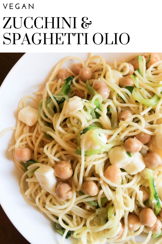 Zucchini & Spaghetti Olio with Chickpeas and Mozzarella - Half zucchini noodles and half spaghetti noodles make for a satisfying and healthy low(er) carb meal!