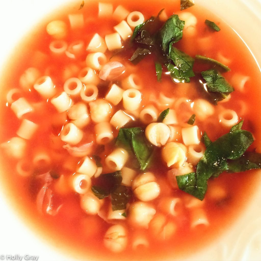 Chickpea and Pasta Soup with Spinach - Hearty without being heavy. The secret ingredient and key to greatness is the homemade vegetable stock.