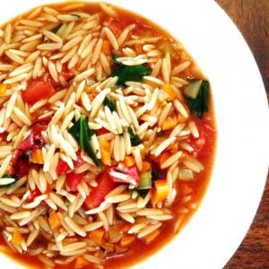 Vegan Vegetable and Orzo Soup - A hearty and colorful soup loaded with orzo pasta and veggies. Ready in under 30 minutes!