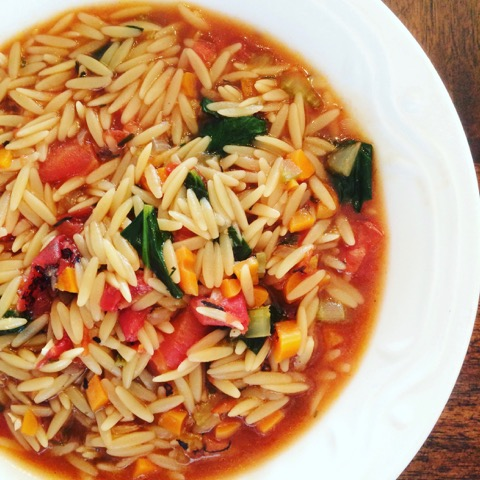 Vegan Vegetable and Orzo Soup - A hearty and colorful soup loaded with orzo pasta and veggies. Ready in under 30 minutes! via @thiswifecooks