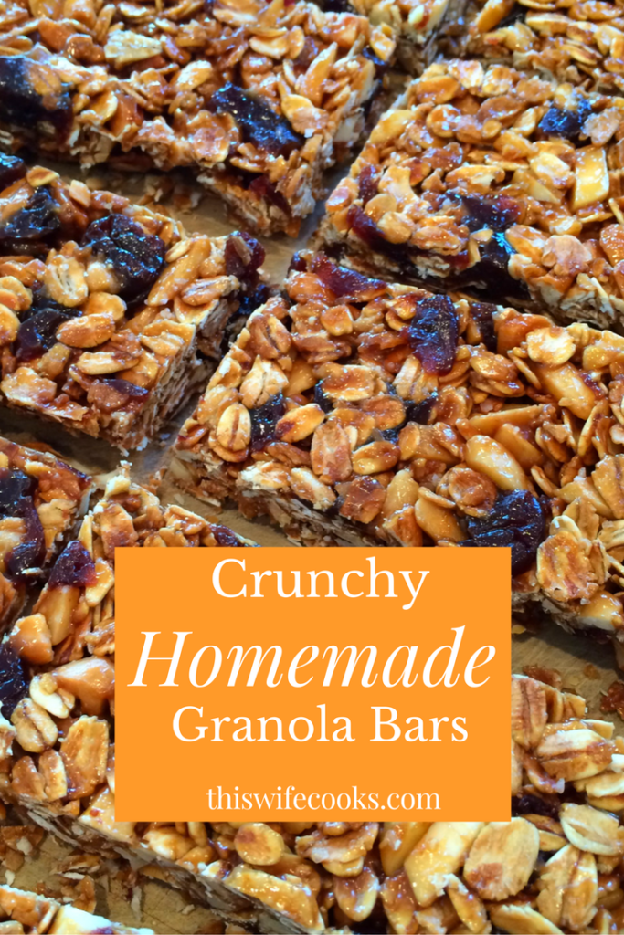 Crunchy Homemade Granola Bars | Nutty, crunchy, vegan granola bars perfect for snacking on the go or at home! | thiswifecooks.com