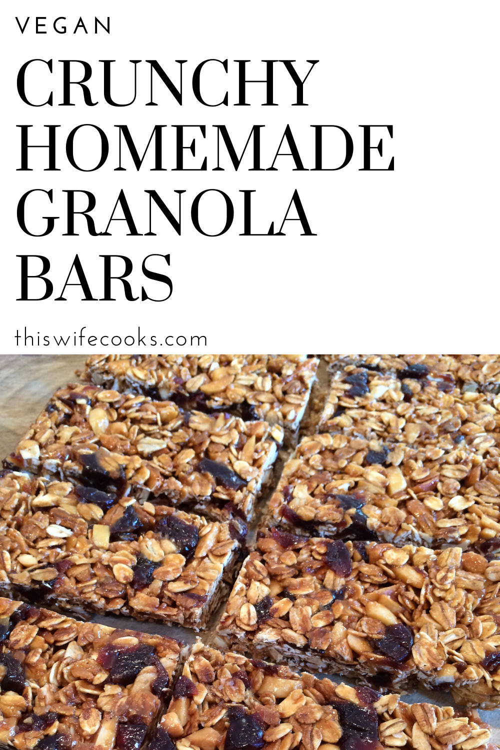 Crunchy Homemade Granola Bars - Easy, crunchy, 100% vegan granola bars perfect for the lunch box or after school snacking. via @thiswifecooks