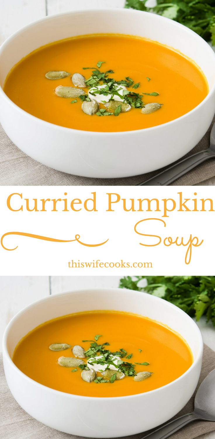 Vegan Curried Pumpkin Soup - Perfect with a salad for an easy lunch, this soup would also fit right in as a first course to Thanksgiving dinner. via @thiswifecooks