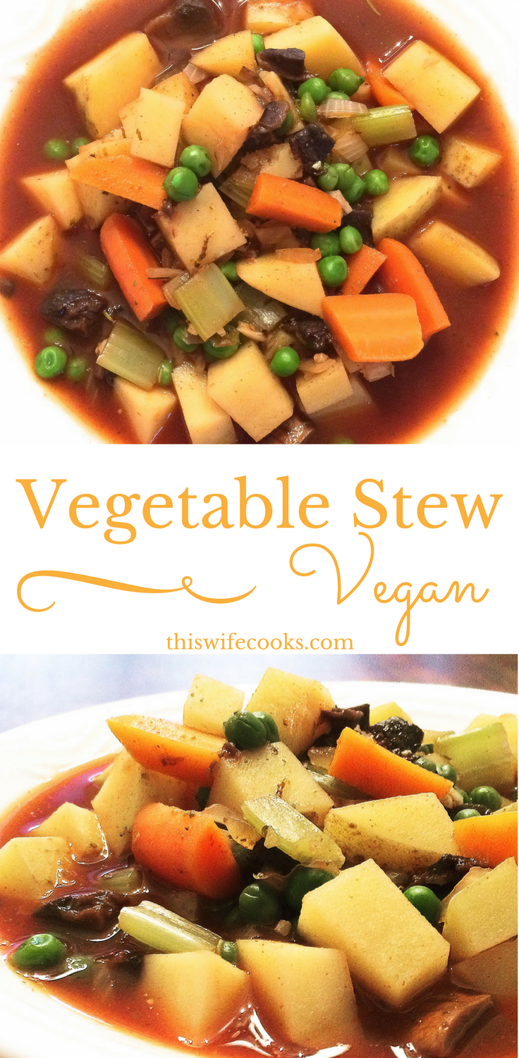 Easy Vegan Vegetable Stew - Packed with potatoes, celery, carrots, mushrooms, garlic, green peas, and savory spices, this hearty vegan vegetable stew hits the spot on a cold day! via @thiswifecooks