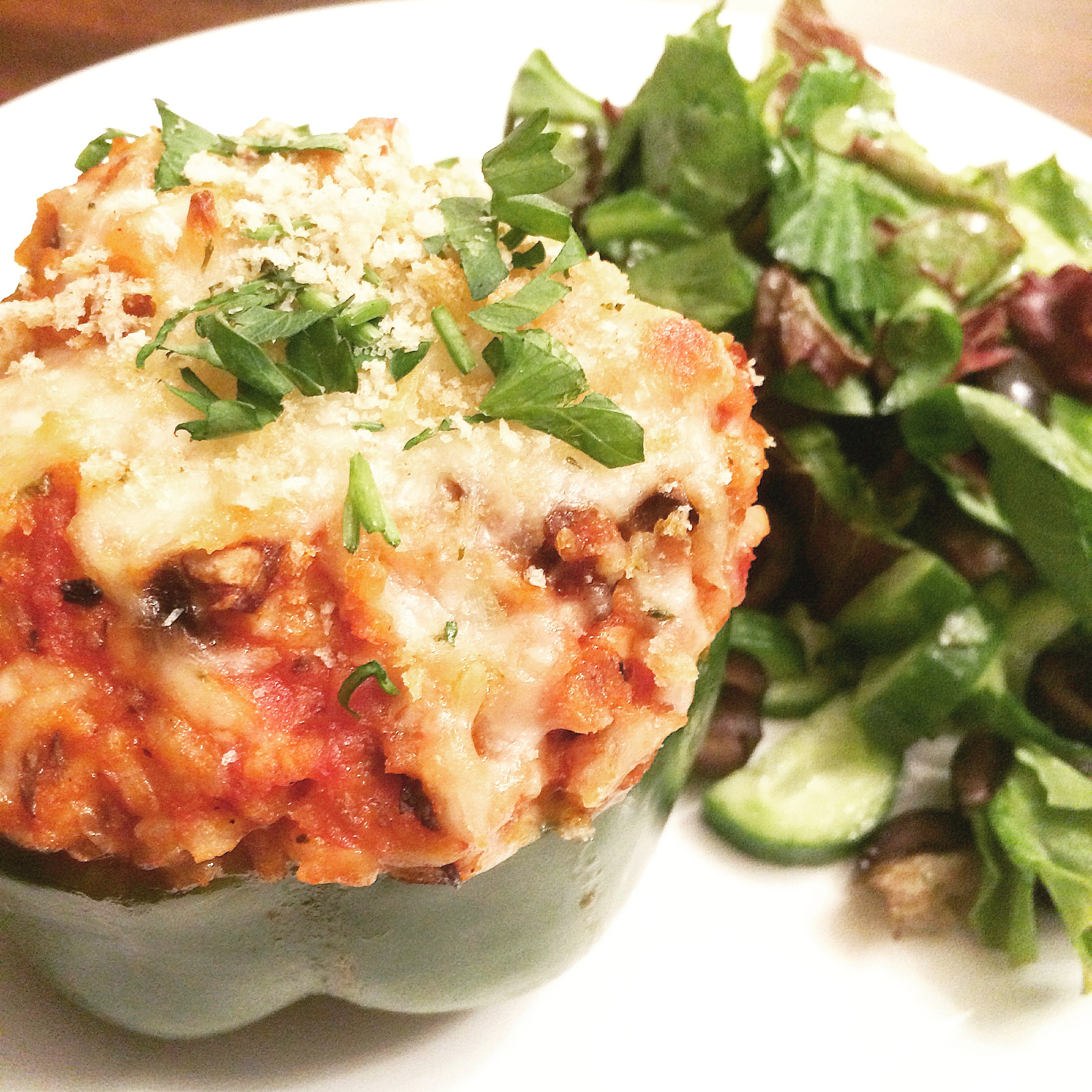 Italian-Style Stuffed Peppers with Spinach and Mushrooms