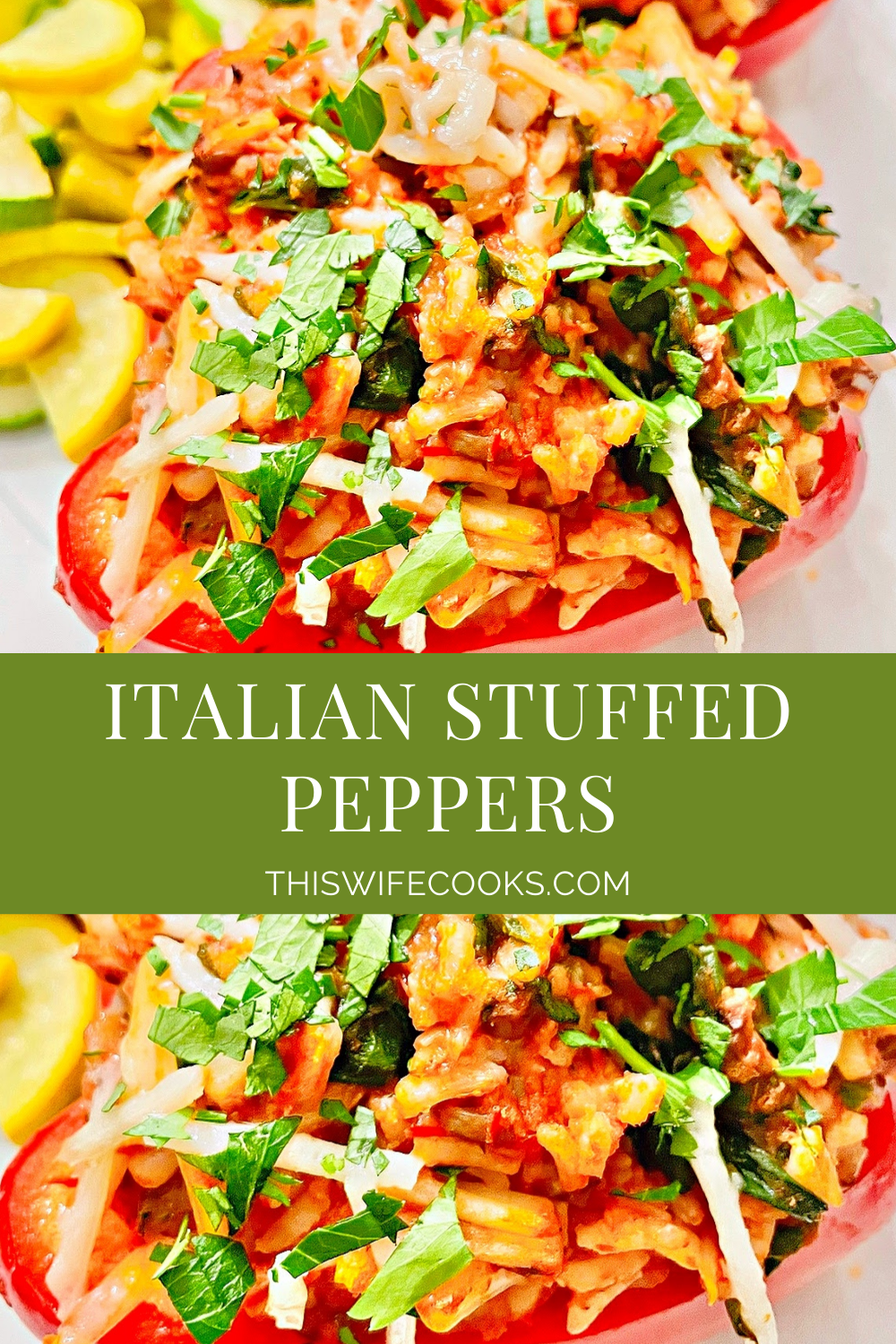 Italian Stuffed Peppers ~Colorful bell peppers stuffed with a saucy mixture of rice, spinach, mushrooms, and vegan mozzarella for a delicious twist on the classic! These peppers are easy to make and ready to serve in about an hour. via @thiswifecooks