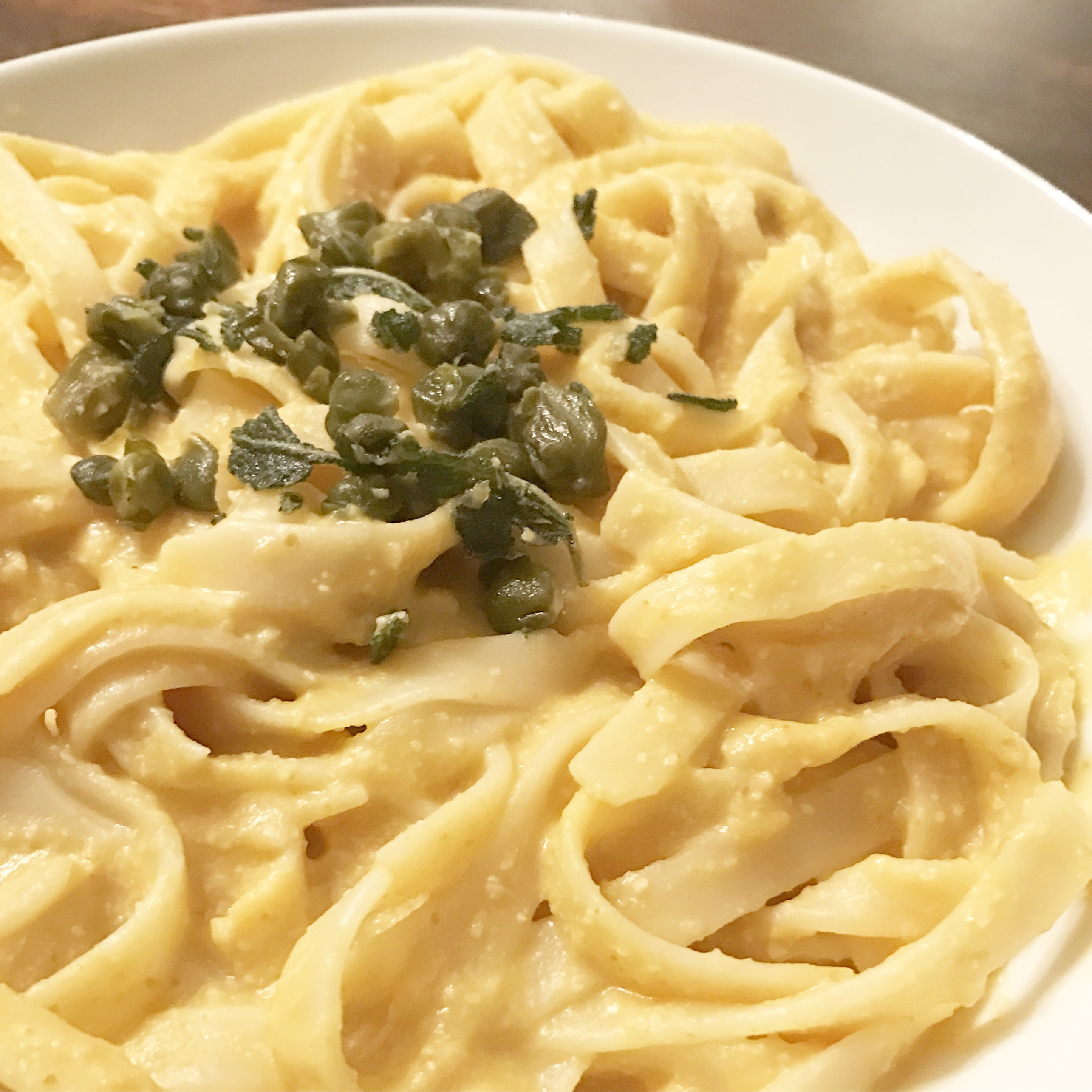 Pumpkin Fettuccine Alfredo with Fried Sage and Capers