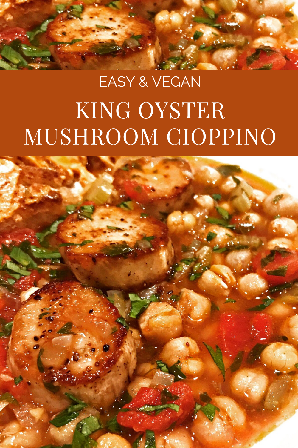 King Oyster Mushroom Cioppino - A gourmet vegan stew made with King Oyster mushroom scallops and seasoned with lots of garlic and Old Bay! #cioppino #veganseafoodrecipes via @thiswifecooks