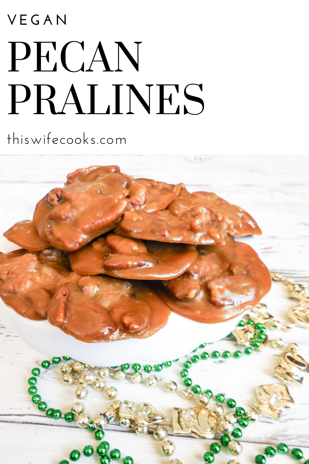 Vegan Pecan Pralines - Get a taste of New Orleans right at home! Sweet, chewy, pecan-laced confections ready in minutes! Laissez les bon temp rouler! via @thiswifecooks