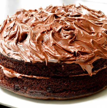 Easy Vegan Chocolate Cake! This recipe yields one 2-layer cake. Includes recipe for Vegan Chocolate Buttercream Frosting.