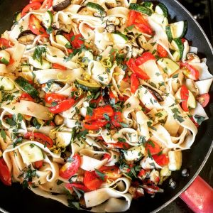 Pasta Ratatouille recipe   Easy to make, one pot dish bursting with robust flavors of the season - zucchini, tomatoes, garlic, eggplant, lemon, red peppers... it's all in there... tossed with fresh pappardelle pasta for a company-worthy meal at home.