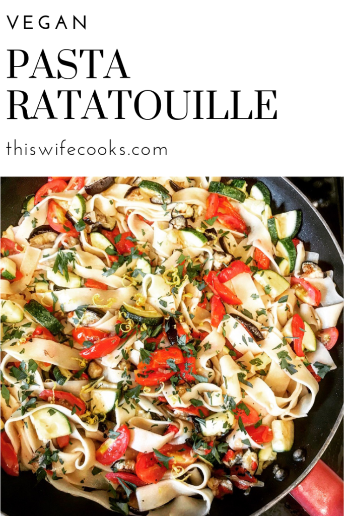 Easy to make, one pot dish bursting with robust flavors of the season - zucchini, tomatoes, garlic, eggplant, lemon, red peppers... it's all in there... tossed with fresh pappardelle pasta for a company-worthy meal at home.