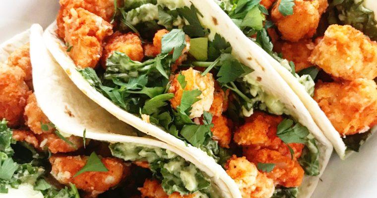 Twice-Baked  Buffalo Cauliflower Tacos
