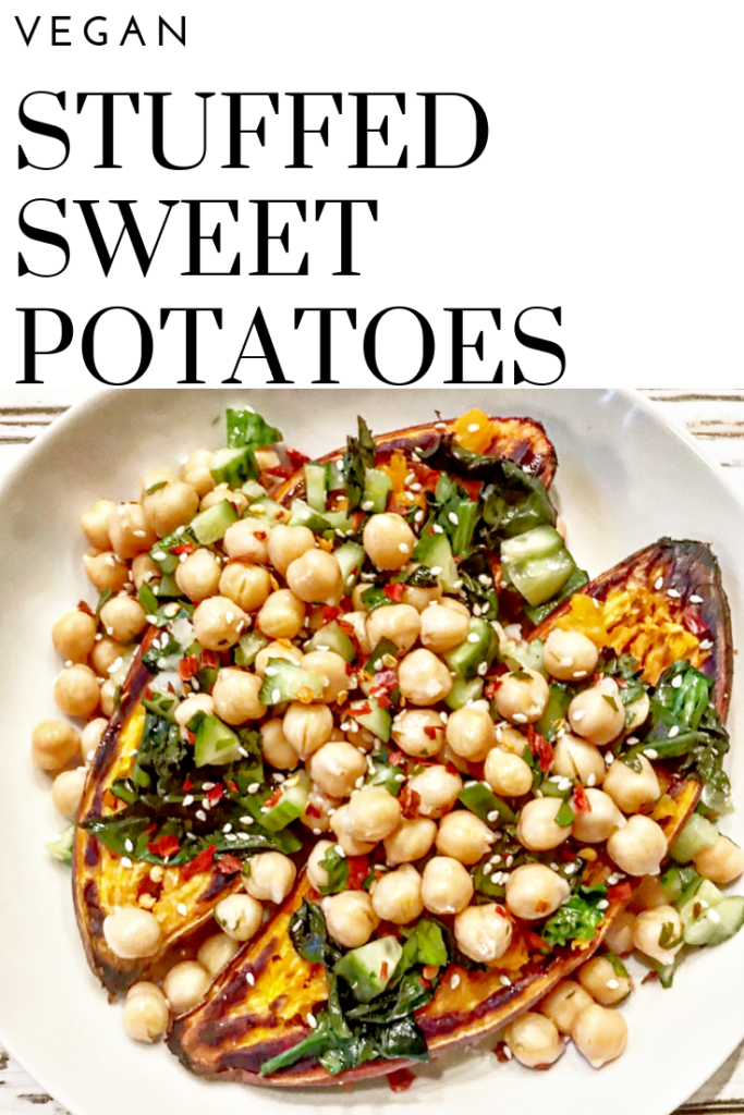 Warm, roasted sweet potatoes are stuffed with a mixture of Chinese broccoli, crunchy cucumbers, fresh parsley, chickpeas, and lemon juice then served over a miso tahini sauce and sprinkled with Aleppo pepper flakes for a perfect balance of spicy and sweet.
