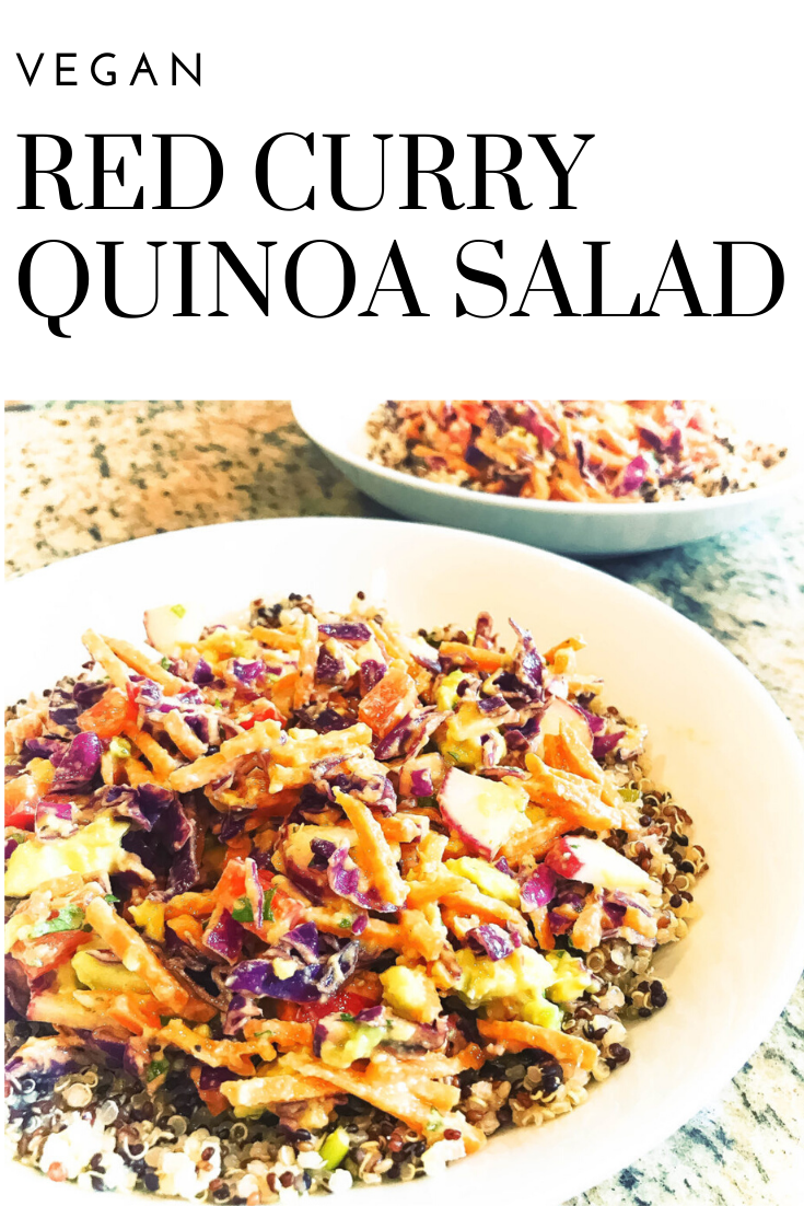 Vegan Red Curry Quinoa Salad - Tri-color quinoa piled with cabbage, carrots, red bell pepper, radishes, scallions, and avocado tossed in red curry sauce. via @thiswifecooks