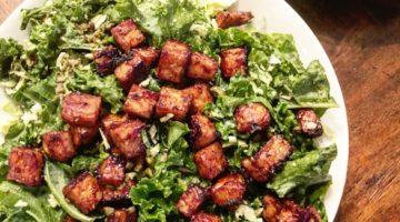 Vegan BBQ Tempeh Caesar Salad