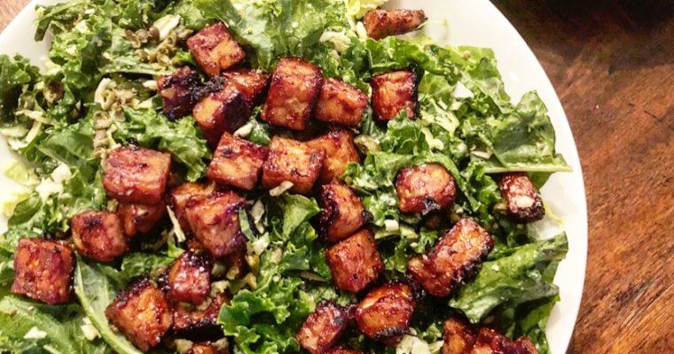 Vegan Caesar Salad with BBQ Tempeh