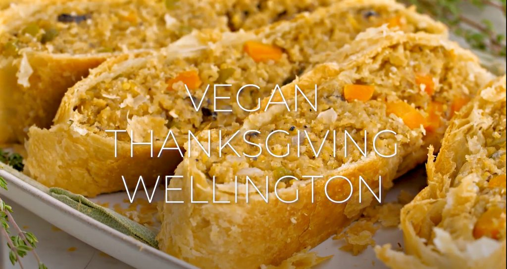 Vegan Thanksgiving Wellington - Loaded with savory quinoa, garbanzo beans, and veggies, then wrapped and baked in puff pastry.