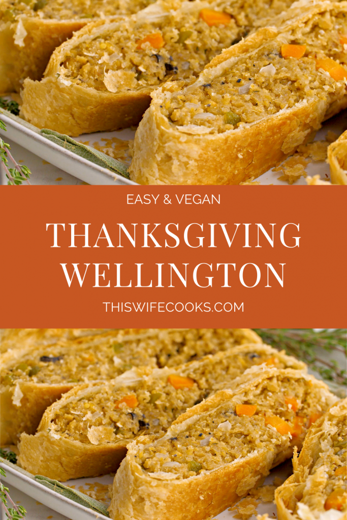 Vegan Thanksgiving Wellington - Loaded with savory quinoa, garbanzo beans, & veggies, then wrapped & baked in puff pastry. Loved by vegans and meat-eaters alike!