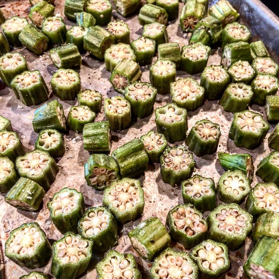 "Easy Oven Roasted Okra - Sometimes the simplest dishes are the best! Look for firm, brightly colored pods that are no more than 4"" in length. 