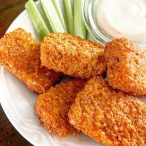 Crispy Air Fried Buffalo Tofu | thiswifecooks.com