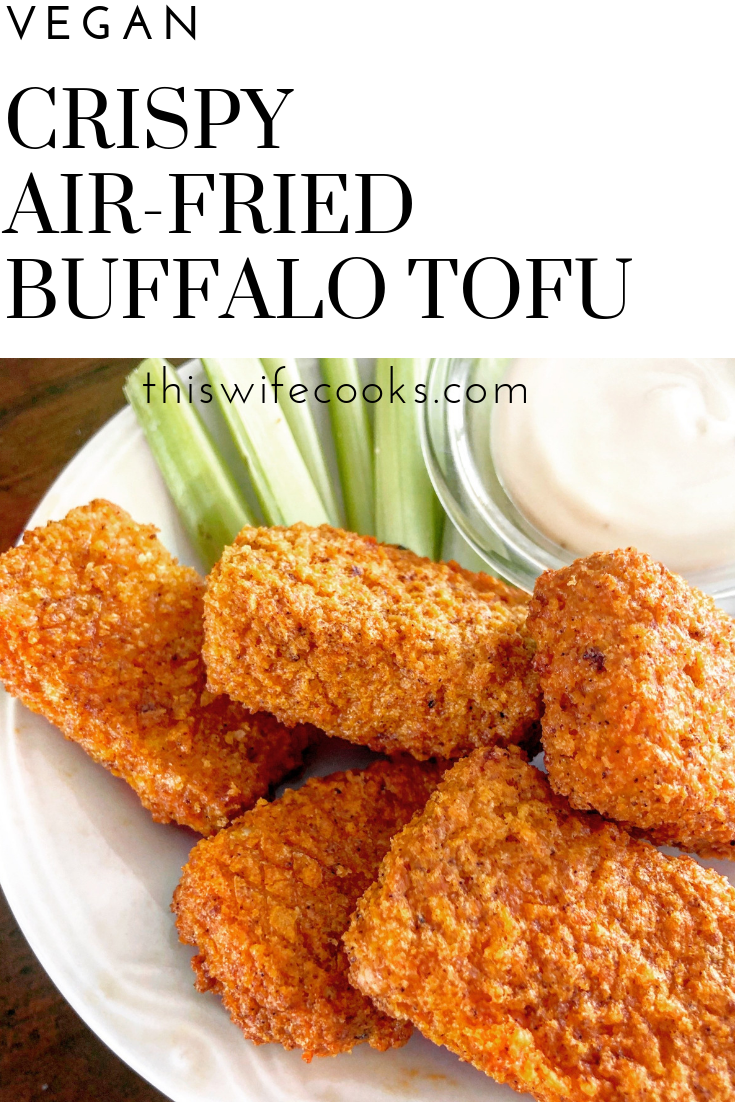 Crispy Air-Fried Buffalo Tofu - So easy and flavorful! Perfect as an appetizer, game day snack, or added to salads, and wraps! via @thiswifecooks