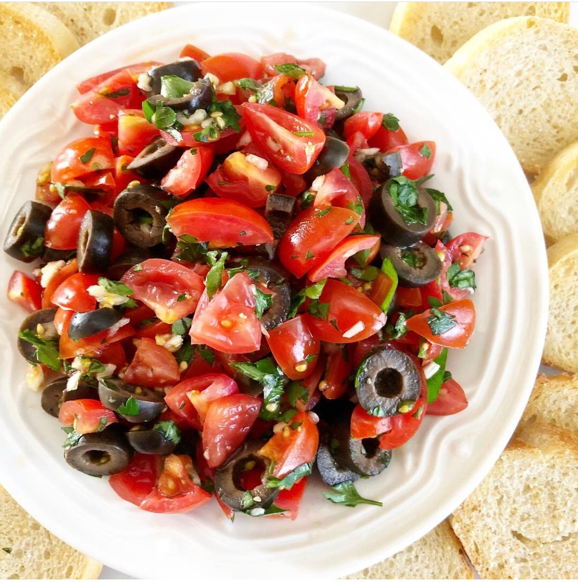Tomato and Black Olive Bruschetta