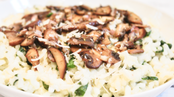 Vegan Smoked Gouda Risotto with Spinach and Mushrooms